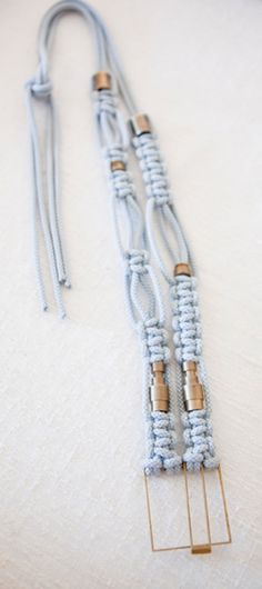 Macrame necklace with heishi style rondelle beads as accents.  |  Macrame Tie Back Necklace - by Jensen-Conroy