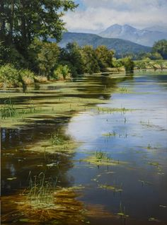 """Renato Mucillo ~ """"Harris Road Lagoon"""" ~ Oil on Canvas 2015"""