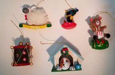 Vintage Christmas Ornaments Bear Dog Lamb Penguin Drum Wood Kids