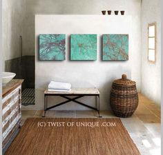 RESERVED Turquoise abstract Painting 3 square by TwistOfUnique