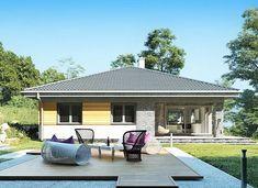 Blanka - murowana – beton komórkowy - zdjęcie 5 Small Bungalow, Bungalow Homes, Bungalow House Plans, Bungalow House Design, Small House Design, Small House Plans, Modern Color Schemes, Backyard House, Amazing Buildings