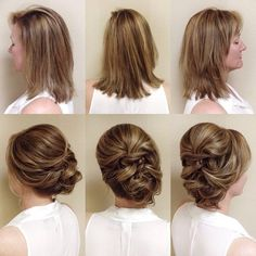 Newest Short Hair Updo Hairstyle Ideas - Frisuren Hochzeitsgast Short Hair Updo, Short Wedding Hair, Wedding Hair And Makeup, Short Hair Styles, Hair Makeup, Bride Makeup, Wedding Updo, Dress Wedding, Bridal Dresses