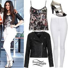 White skinny jeans + abstract tank + black leather jacket + silver heels