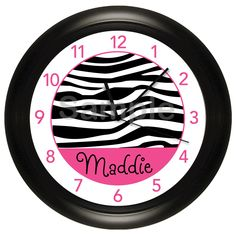 Personalized Hot Pink and Zebra Print Nursery Wall by cabgodfrey2, $16.99