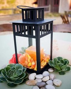 Wedding, Reception, Centerpiece, Candle, Lantern, Succulents