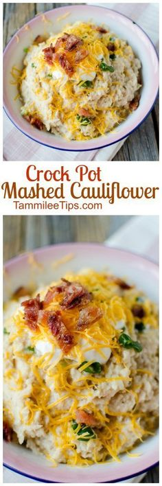 Easy recipe for Crock Pot Mashed Cauliflower loaded with garlic and cheese. You can leave the cheese off to make a healthy version if you like. This slow cooker comfort food is the perfect side dish for Thanksgiving, Christmas or a family dinner. Crock Pot Recipes, Crock Pot Cooking, Slow Cooker Recipes, Cooking Recipes, Keto Crockpot Recipes, Whole30 Recipes, Ketogenic Recipes, Casserole Recipes, Mashed Cauliflower