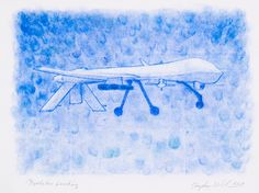 """Courtesy of the Artist and Chandra Cerrito Contemporary: Stephen Whisler Predator Landing, 2013 Pastel on paper, framed 11""""x15"""" Gallery Retail $500 Auction Starting Bid $300"""