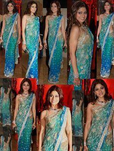 $156.52 Shamita Shetty In Blue 3 Shade Saree 14235