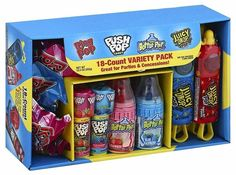 Bazooka Candy Brands, Lollipop Variety Pack w/ Assorted Flavors of Ring Pop, Push Pop, Baby Bottle Pop, and Juicy Drop Pop Box)-Easter Basket Gift box Gourmet Recipes, Snack Recipes, Snacks, Sour Candy, 90s Candy, Candy Party, Party Favors, Cross Your Fingers, Candy Brands