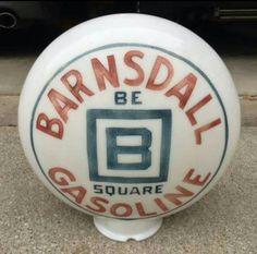 Original 1-Piece Etched Barnsdall Gas Globe