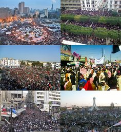 Clockwise from top left: Protesters in Tahrir Square in Cairo; Demonstrators marching through Habib Bourguiba Avenue in Tunis; Political dissidents in Sana'a; Protesters gathering in Pearl Roundabout in Manama; Mass Demonstration in Douma; Demonstrators in Bayda.