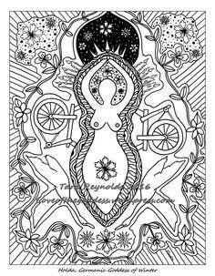 Adult Coloring Page Goddess Wall Art Holda Print Book Pagan Mandala Printable