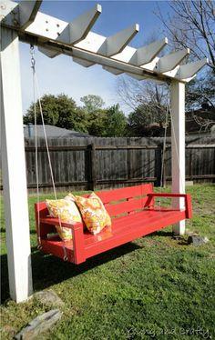 Garden swing under a pergola ... brilliant and beautiful.