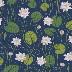 A dreamy wallpaper with beautiful hand-painted water lilies that twine at a woodland mere. This is a wonderful way to be welcomed to a hall, stairway or guestroom. Dark Blue Wallpaper, More Wallpaper, Blue Wallpapers, Colorful Wallpaper, Flower Wallpaper, Wallpaper Backgrounds, Art Lotus, Lotus Flower Art, Pichwai Paintings