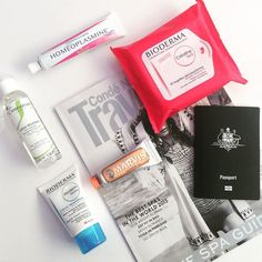 Getting some travel inspiration for 2016 with some favorite travel size essentials: Homeoplasmine @biodermafrance Crealine Cleansing Wipes @embryolisse Lotion Micellaire Bioderma Repair Hand Cream Marvis travel size ginger mint toothpaste and Conde Nast Traveller magazine. All products available at offenstore.com #offenstore  #travelsize #frenchpharmacy
