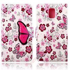 Preciosa Funda diseño mariposa y flores para tu Samsung Note 4