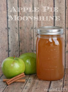 Apple pie moonshine will sneak up on you! This stuff is so smooth and tasty. Use With Caution! This Homemade Apple Pie Moonshine recipe has been passed down to me from a dear friend and is… Party Drinks, Cocktail Drinks, Fun Drinks, Yummy Drinks, Alcoholic Drinks, Camping Drinks, Liquor Drinks, Refreshing Cocktails, Drinks Alcohol