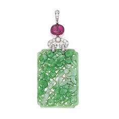 Platinum, Carved Jadeite, Tourmaline, Pearl and Diamond Pendant, Cartier The finely carved and pierced jadeite tablet depicting fruit and floral motifs, suspended by a pink tourmaline bead, further set with a pearl and old European-cut diamonds weighing .80 carat
