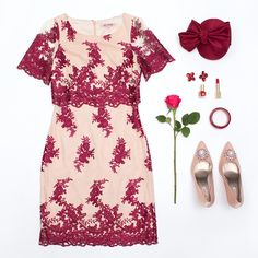 Champagne Dress, Review Fashion, Fashion Sets, Mix Match, Floral Embroidery, Fashion Details, Heavenly, Berry, Lace Dress