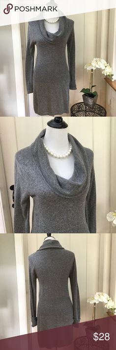 """BCBG MAX AZRIA Grey Wool Blend Sweater Dress Stunning grey angora and wool blend sweater dress with a draped cowl neck and long sleeves. In excellent condition with no holes, no spots, no rips, no defects. The fabric is super soft and fluffy. Chest 16"""", length 32"""". BCBGMaxAzria Dresses Long Sleeve"""