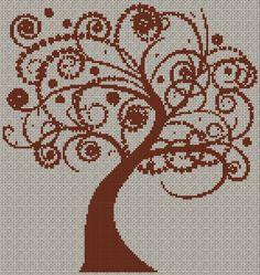 ALBERO ARABESQUE Cross Tree, Cross Stitch Tree, Cross Stitch Flowers, Cross Stitch Charts, Embroidery Applique, Cross Stitch Embroidery, Embroidery Patterns, Labor, Needle And Thread