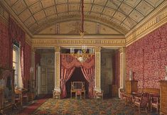 Interiors of the Winter Palace. The First Reserved Apartment. The Bedroom of Grand Princess Maria Nikolayevna by Edward Petrovich Hau - Architecture, Interiors Drawings from Hermitage Museum Romanov Palace, House Of Romanov, Imperial Palace, Imperial Russia, Palazzo, Palace Interior, Winter Palace, Hermitage Museum, Fantasy Places