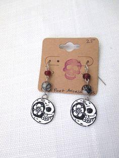 Death Tarot Card Crescent Moon Skull and Poppy Flower Beaded Dangle Earrings with Zebra Jasper and Water Buffalo Horn Beads