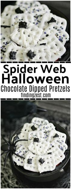 These spider web Halloween chocolate dipped pretzels feature a spooky spider web with spider sprinkles. Only four ingredients are required to make this Halloween treat for kids! Give this fun no-bake dessert a try.