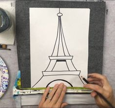 Learn how to paint the eiffel tower using only three colors. This gray and red color scheme painting is very easy for the beginner acrylic painter. Canvas Painting Tutorials, Easy Canvas Painting, Painting Lessons, Eiffel Tower Painting, Painted Shorts, Kids Canvas Art, Red Color Schemes, Titanium White, Red Tree