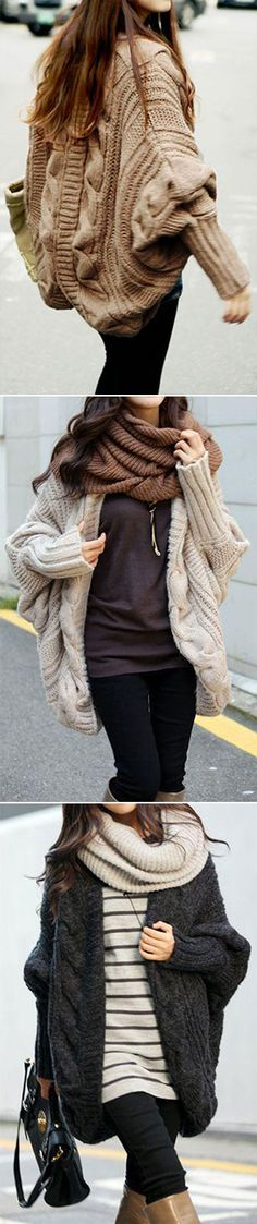 We have more than a feeling that you're gonna live in this all winter. The Warm It Up Cardigan features batwing sleeve and twist pattern. Shop this look at CUPSHE.COM , HOT SALE!