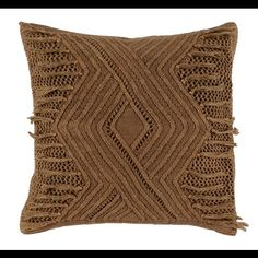 Maison Luxe Dialm Canyon Pillow $95.00 ASK A QUESTION Availability 1 LEFT ADD TO CART  SHARE DIALM CANYON PILLOW  A richly textured pillow with southwestern influences create a ravishing effect. An earthy Canyon color imbues the Dialma pillow with a mineral quality, underscored by a unique knitted overlay. 100% linen 100% linen knitted fabric Dyed knitted fabric Overlayed knit fabric on a cotton/linen base fabric Hidden zipper Luxury feather & down insert