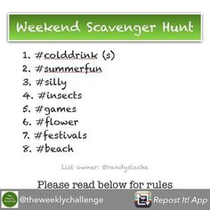 Repost from @theweeklychallenge using @RepostRegramApp - Welcome to our WEEKEND SCAVENGER HUNT #sh_224! RULES: .  NEW posts only - posted AFTER the official announcement  Only one item per photo.  No drawings or photos (i.e. if the item is a ring you must post a photo of an actual ring - not a picture of a ring in a magazine.) . GOAL: Find and shoot as many items from the list as you can. . TAGS: sh_224 and sh_224_username . Every item to be tagged with player tag and game tag. . DEADLINE…