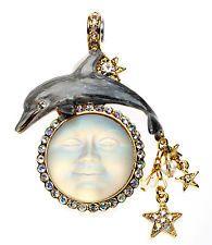 KIRKS FOLLY Seaview Moon Garden Magnetic Enhancer necklace goldtone