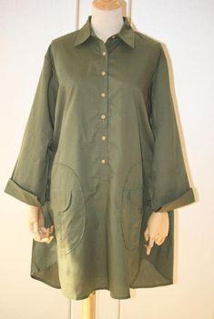 Cotton midi shirt, Army green shirt, Women top, Loose Fitting shirt, Blouse for Women