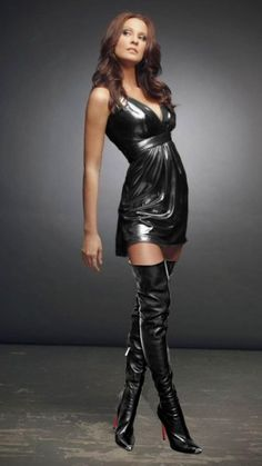 I want the outfit – Boots 2020 Thigh High Boots Heels, Hot High Heels, Sexy Outfits, Sexy Dresses, Looks Pinterest, Rubber Dress, Latex Lady, Latex Dress, Mini Vestidos
