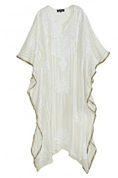 Embroidered Silk Sheer Caftan  | Calypso St. Barth