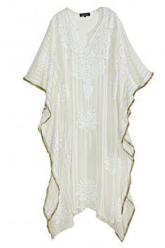 Embroidered Silk Sheer Caftan  | Calypso St. Barth