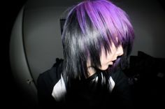 black and purple Wacky Hair, Emo Scene Hair, Goth Hair, Emo Girls, Hair Girls, Dream Hair, Hair Pictures, Purple Hair, Hair Dos