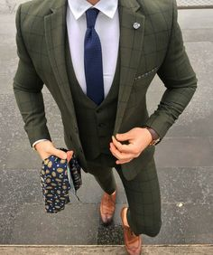 Olive green checked
