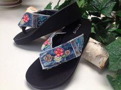 Denim Blue Jean Flip Flop Thong Sandal w/ Embroidery
