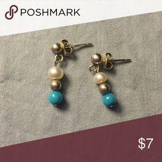 Turquoise & Faux Pearl Drop Earrings Cute & simple Jewelry Earrings