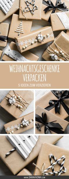 Mit diesen fünf DIY Ideen zum Verzieren von Weihnachtsgeschenken in Packpapier macht das Schenken dieses Jahr noch mehr Spaß, als beschenkt zu werden.