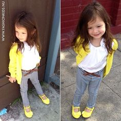 Little girl outfit: grey, white and yellow outfit.