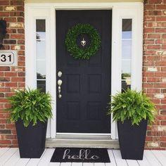 53 Best Spring Front Porch Decorating Ideas – Decorating Ideas - Home Decor Ideas and Tips - Page 46 Front Door Planters, Front Door Porch, House Front Door, House With Porch, Front Door Decor, Front Porch Decorations, Fromt Porch Decor, Fromt Porch Ideas, Front Porch Garden