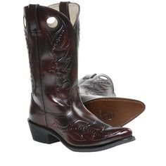 """Durango 12"""" Leather Cowboy Boots - Pointed Toe (For Men) in Black Cherry"""