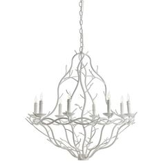 Nature inspired 8-light chandelier in a painted white finish features intertwined iron branches shaped into a curved basket design. Durango Chandelier H: 30.5""