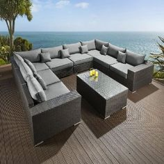 Black Rattan L Shaped Pcs Outdoor Patio Pool L Shaped Sectional Sofa Set . Luxury Curved Black Leather 3 Seater L Shaped Corner Sofa . Outdoor Patio U Shape Sectional Synthetic Rattan Wicker . Home and Family U Shaped Corner Sofa, U Shaped Sofa, Corner Sofa Set, Diy Outdoor Furniture, Sofa Furniture, Outdoor Sofa, Garden Furniture, Outdoor Dining, Rattan Sofa