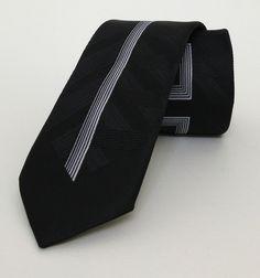 Black and White Striped Mens Tie 6 cm (2,36 #handmadeatamazon #nazodesign