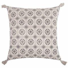 Housse de coussin en coton gris à motifs 40x40 - CRECY