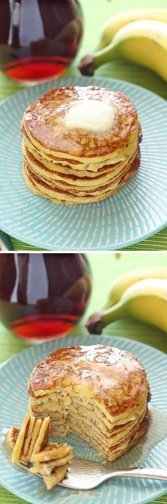 You can make these Four-Ingredient Protein Pancakes with just two ingredients, but I added a couple for good measure, including protein powder Quick Healthy Breakfast Ideas & Recipe for Busy Mornings Easy Snacks, Easy Healthy Recipes, Low Carb Recipes, Healthy Snacks, Cooking Recipes, Good Protein Snacks, Healthy Sweets, Breakfast And Brunch, Quick Healthy Breakfast